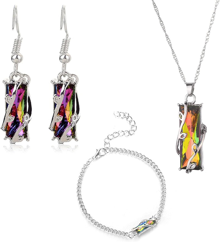 TOIDOI Crystal Jewelry Set Creative Fashion Irregular Crystal Beads Geometry Elegant Crystal Necklace Earrings Bracelet Bridal Wedding Party Women (Color : A)