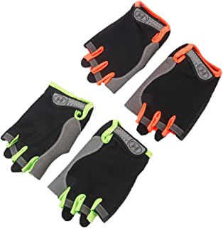 Domybest Cycling Gloves Multi-Colored Sports Anti-Slip Men Women Breathable Half Finger Gloves