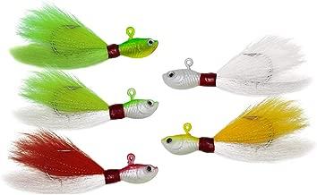 Alwonder Bucktail Jig Saltwater Freshwater Fishing Baits Fluke Lure Striper Bluefish Bass Flounder White, Green, Red,Yellow 1/2,1,2,4, 6 oz