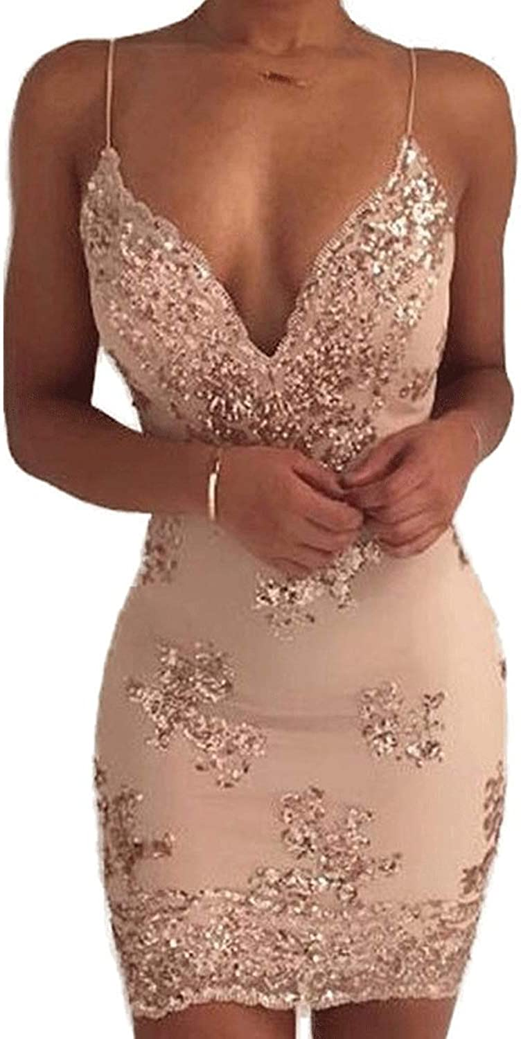 FANTASIEM Women's Sexy Backless Sparkling Dress Sequins Floral Embroidery Deep V Neck Clubwear Party Bodycon Mini Short Dress