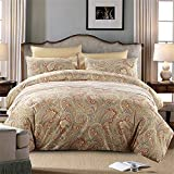 Brandream Duvet Cover King Size Hotel Collections Super Soft Egyptian Cotton 3 Piece Modern Bedding Gold Classy Paisley Regal Themed 800-Thread-Count Bedding Set 1 Duvet Cover and 2 Pillow Shams