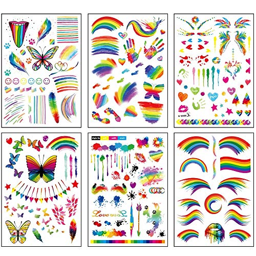 Gay Pride Temporary Tattoos LGBT Rainbow Gay Pride Flag Stickers Tattoo 6 Sheets Over 150+ Design Festival Body Paint Art Tattoo for Gay Pride Party Accessories Decorations
