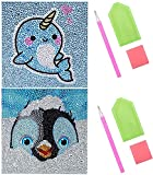 RosewineC 2 Pack Diamond Painting for Kids,5D Diamond Painting Kit Full Drill Painting by Number Kits,Mosaic Craft Kits for Beginners Children Adults 15X15cm (Narwhal+Penguin)