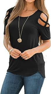 Doris Women's Casual Tunic Top Criss Cross Cold Shoulder Short/Long Sleeve Strappy T-Shirt Tops