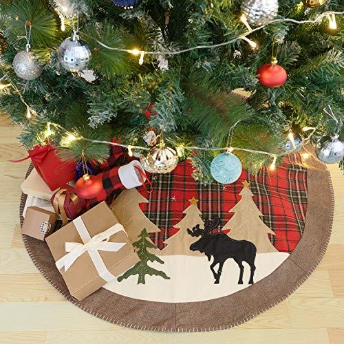 Christmas Tree Skirt 42 Inch Large Buffalo Plaid Rustic Burlap Tree Skirt Xmas Holiday Home Decorations