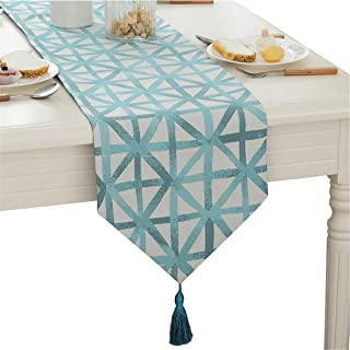 Modern Simple Geometric Patterns Tassel Table Runner for Party Wedding Home Decorative 80 inch Approx