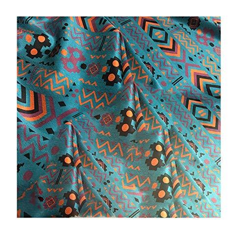 Anquanwang Teal totem patroon zijde satijn stof 110 cm breed maken high-end kleding pyjama jurken en kussenslopen