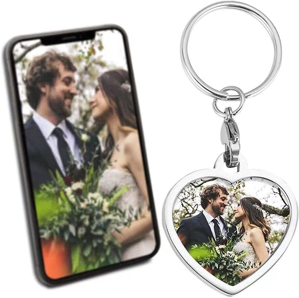 Custom Photo Keychain Square Shape Stainless Steel Keyrings Piture Personalized Car Keychains Heart-shaped Pendant