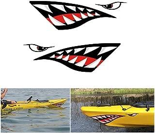 Jingolden 2pcs Car Or Rowing Kayak Boat Decal Sticker Waterproof DIY Funny Shark Teeth Accessories Mouth Sticker Vinyl Decal Sticker for Decal Left Right