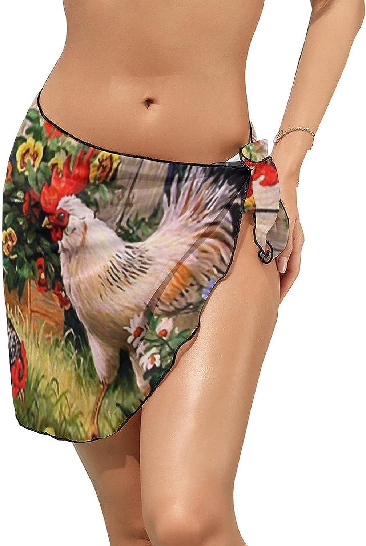 JINJUELS Women's Bikini Swimsuit Cover Up Rooster Hen Chicks Grass Summer Beach Wrap Skirt Pareo Sarong