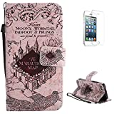 KaseHom for iPhone5/5s/SE Flip Leather Case, Folio PU Leather Wallet Style [Card...
