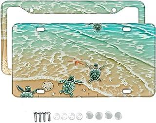 Conjunto de 2 peças de molduras para placa de carro da Babrukda com tartaruga marinha na praia, placa universal de placa d...