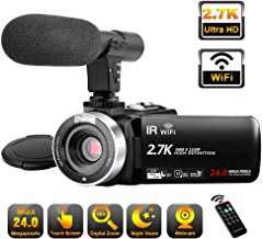 Video Camera Camcorder with Microphone WiFi IR Night...