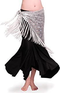 ROYAL SMEELA Women's Belly Dance Hip Scarf Tribal Triangle Tassel Peacock Hip Scarves Skirt Belly Dancing Costume One Size