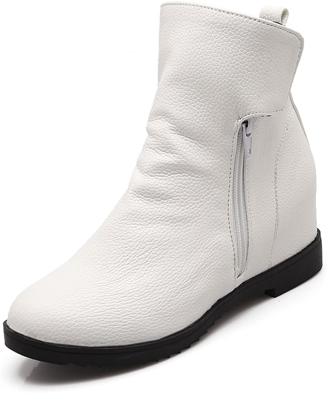 Lucksender Womens Round Toe Side Zipper Hidden Heel Ankle Boots