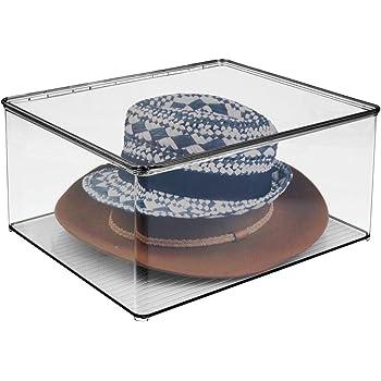 mDesign Caja organizadora con tapa – Cajas para guardar ropa y accesorios – Organizador de armarios de plástico transparente para el dormitorio – gris: Amazon.es: Hogar
