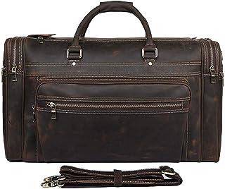 Men's Travel Bag Vintage Leather Travel Bag Fashion Large Capacity Leather Carrying Bag (Color : Brown)