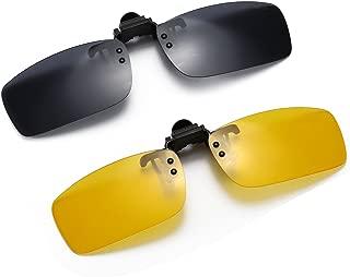 Polarized Clip-on Flip Up Metal Clip Rimless Sunglasses for Prescription Glasses