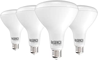 Sunco Lighting 4 Pack BR40 LED Bulb, 17W=100W, Dimmable, 5000K Daylight, 1400 LM, E26 Base, Indoor Flood Light for Cans- U...