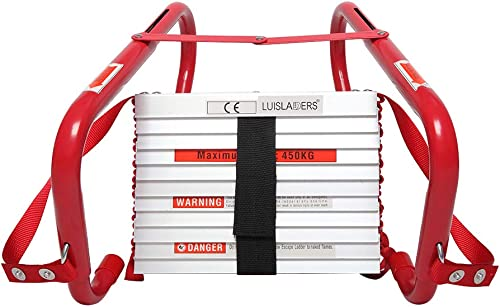 2021 LUISLADDERS online sale Fire lowest Escape Ladder 2 Story with Anti-Skid Rungs Portable Emergency Escape Ladder, Easy to Deploy Store 15- Feet outlet sale