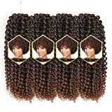 Afro Jerry Curl Crochet Hair Ombre Color Marlybob Afro kinky Curly Braiding Hair Extension 3X Braid Hair Blonde Short Synthetic Hair Styles (11' 4packs, T30#)