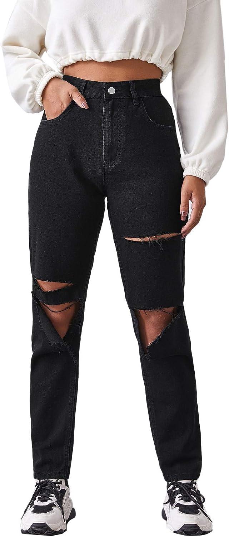 80s Jeans, Pants, Leggings | 90s Jeans SweatyRocks Womens Ripped Boyfriend Jeans Distressed Denim Ankle Length Jeans  AT vintagedancer.com