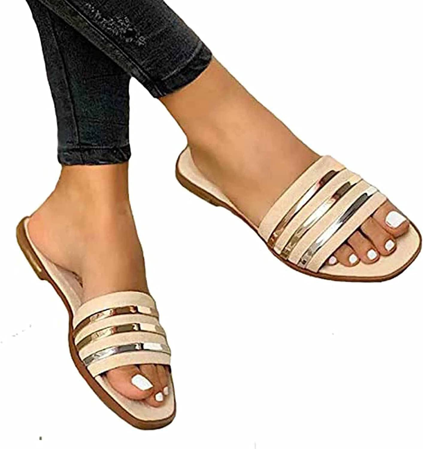 Womens Flat Sandals, Summer Ladies Flat Sliders Leather Open Toe Beach Clip Non-Slip Sandals Comfort Casual Indoor Outdoor Shoes Holiday Slippers (Color : Beige, Size : 39)