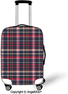 AngelDOU Fashion Elastic Fabric Luggage Protective Cover Red Plaid Classic Quilt Checkerboard Pattern with Pixel Art Inspirations Traditional Image Decorative Multicolor Suitable18-28 Inch Trolley Ca