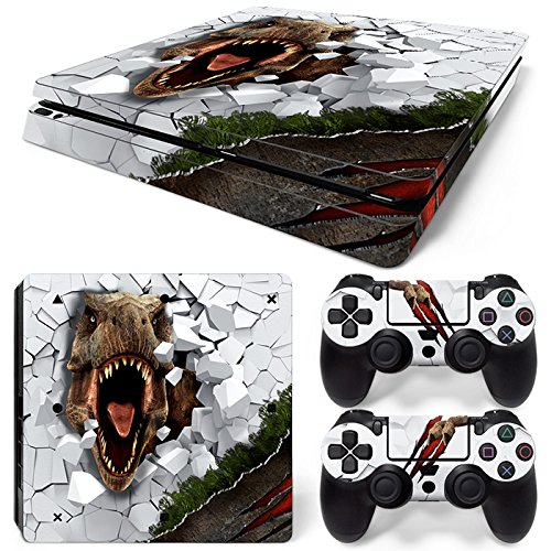 ZOOMHITSKINS PS4 Slim Skins, White Dino Dangerous Animals Fossil T-Rex Dinosaur Prehistoric,, Durable, Bubble-free Goo-free,Cover Set of 2 Controller Skins 1 Console Skin, Made in USA