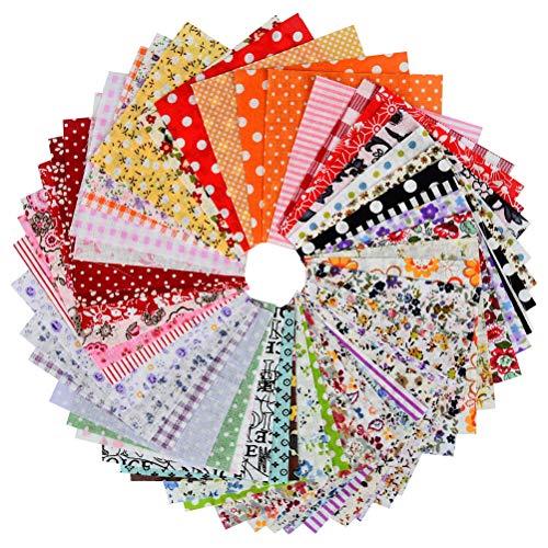 """""""N/A"""" 100 Stück 15 cm x 15 cm Blumenmuster Bedruckte Farbsystem Patchwork Stoffe Baumwollstoff Paket Bunte Baumwollstoff Set Stoffpaket DIY Baumwolltuch Stoffreste Paket Stoffpakete"""