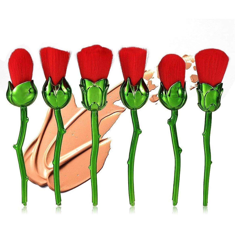 住む偽善矛盾するメイクブラシセット、6個の赤いローズ形状のファンデーションブラッシャーパウダーフェイス化粧道具