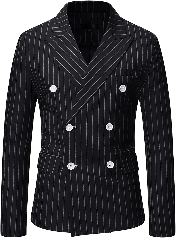 Bravetoshop Men's Slim Fit Double Breasted Suit Jacket Stripe Business Wedding Party Blazer Jacket