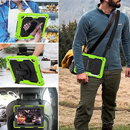FSCOVER Hülle für Neu iPad 10,2 (8. Generation/7. Generation), 3 Layer Hybrid Stoßfeste Robuste Schutzhülle mit 360 Grad Drehbar Ständer, Handschlaufe, Schultergurt für iPad 10,2