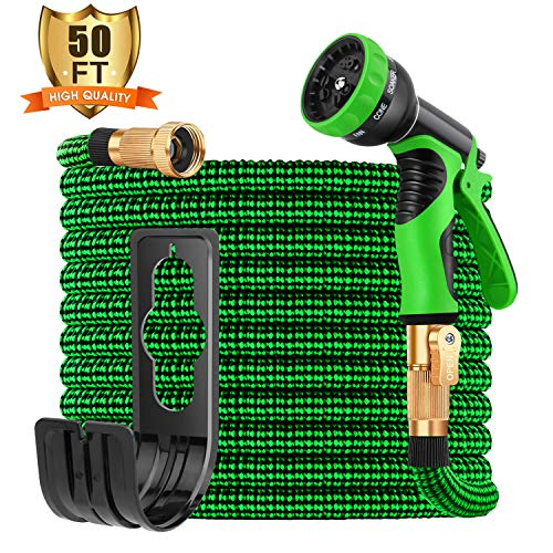 Sunrich Expandable Garden Hose 50ft Expanding flexible Water Hose retractable with 9 Function Spray Nozzle Lightweight Durable 3750D Latex Core 3/4' Solid Brass Connectors for Gardening