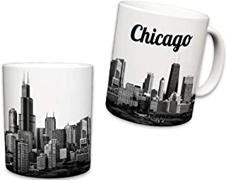 Sweet Gisele | Chicago Mug | Ceramic Coffee Cup Souvenir | Windy City Skyline View | Iconic Sears Tower | White Travel Mugs | Vivid Color Detailing | Great Novelty Gift | 11 Fl. Oz