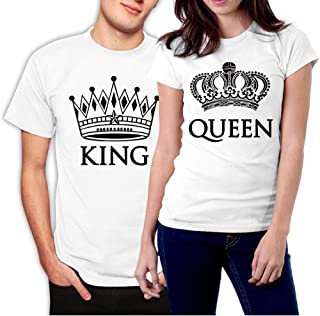 King and Queen Couple T-Shirts White Crowns