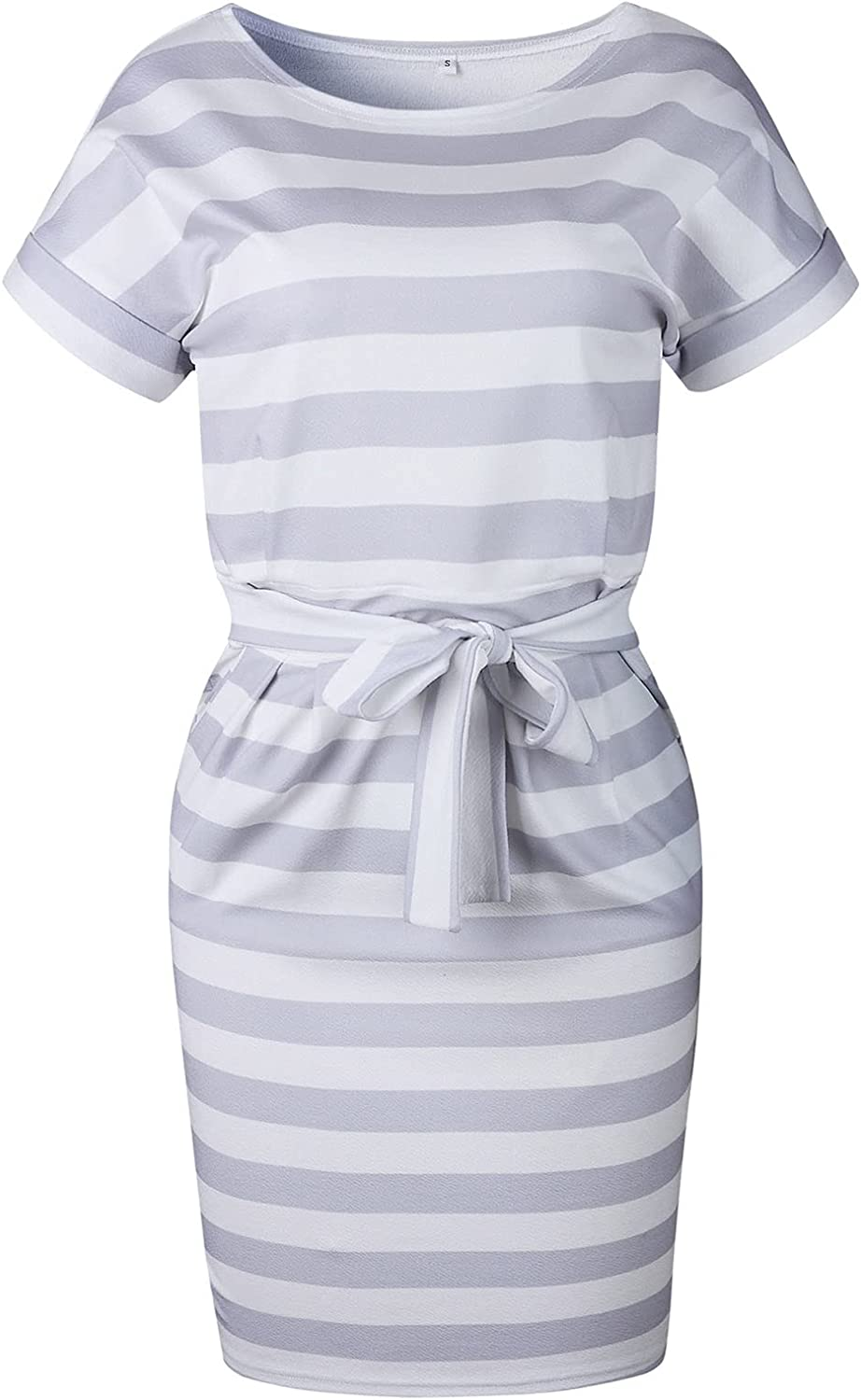 Women's Striped Elegant Short Sleeve Wear to Work Casual Pencil Dresses for Women Summer 2021 with Belt