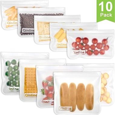 Reusable Storage Bags 10 Pack Leak Proof Freezer Bags(5 Reusable Sandwich Bags + 5 Reusable Snack Bags) Easy Seal Ziplock Lunch Bag for Kid Food Storage Home Organization Traval & Make-up BPA FREE
