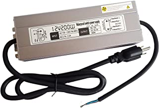 200w Waterproof Led Light Strip Power Supply Transformer,110-130v AC to 12v DC Output 16.7a Led Power Supply Adapter with 3 Prong Plug 3 feet Cable for Outdoor Use