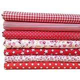 SODIAL 7Pcs 50cm * 50cm Tela estampada de floral pequeno liso de algodon para cosrura de tela Acolchado de almazuela Textiles bricolaje hechos a mano (Rojo)