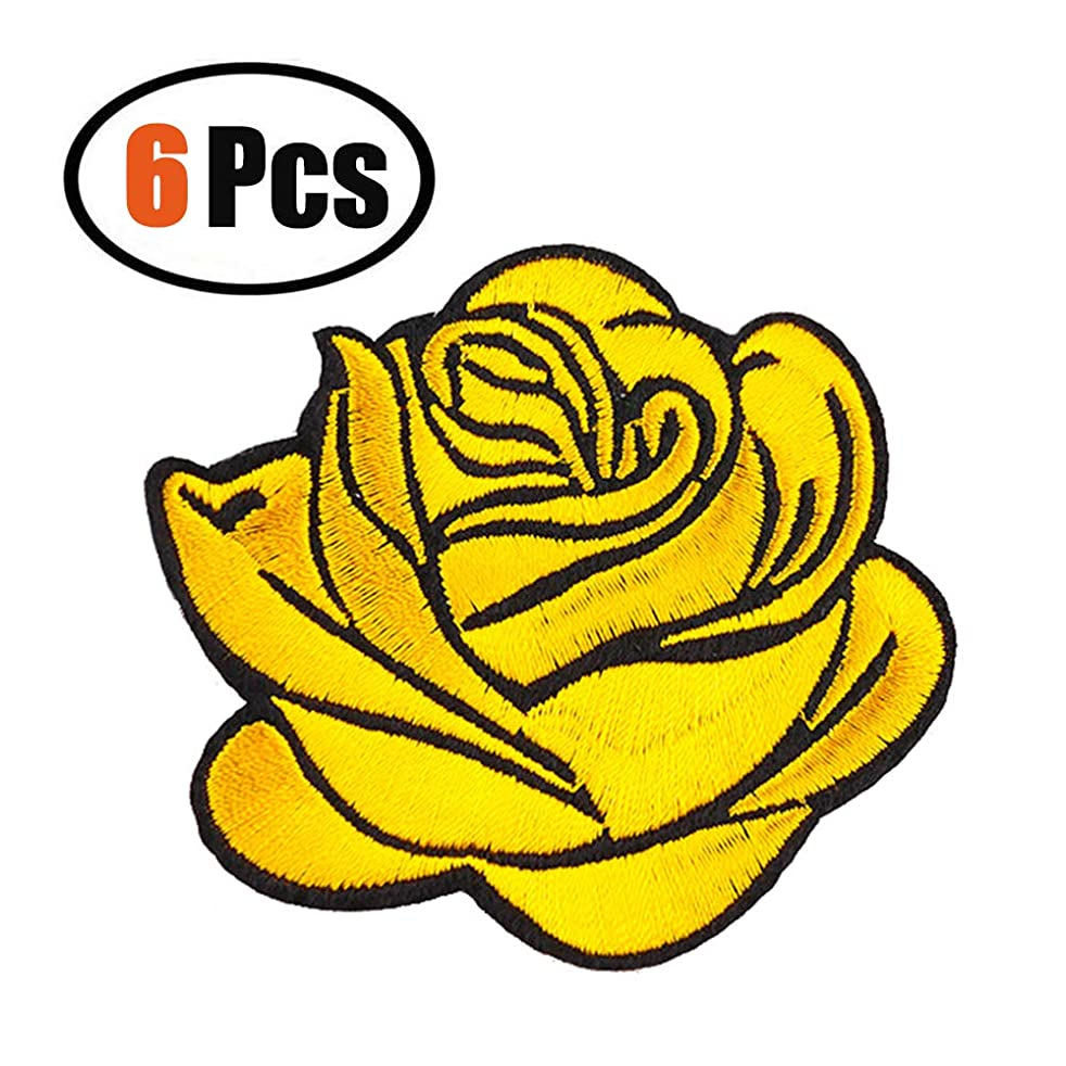 6 Pack Flower Patches, Iron On Rose Patches, Sew On Applique Patch, Custom Backpack Patches for Women, Girls, Kids (Yellow)