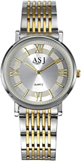 Hexiaoyi Women's Thin Dial Stainless Steel Band Waterproof Watch (Color : Gold men)
