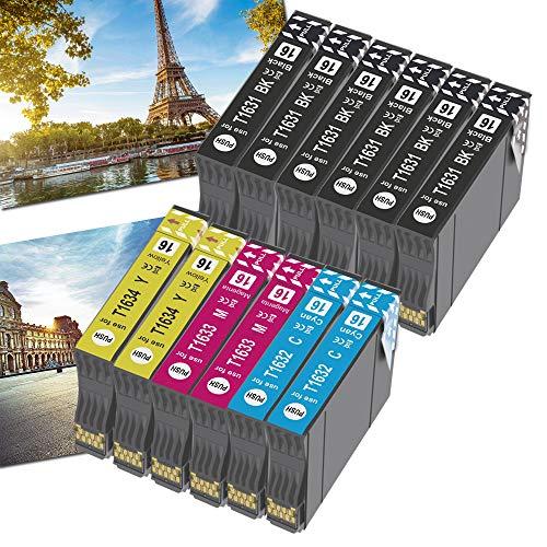 OGOUGUAN - Cartuchos de tinta 16XL para impresoras Workforce WF-2750DWF WF-2630WF WF-2010W WF-2520NF WF-2530WF WF-2540WF WF-2650DWF y WF-2660DWF (12 unidades)