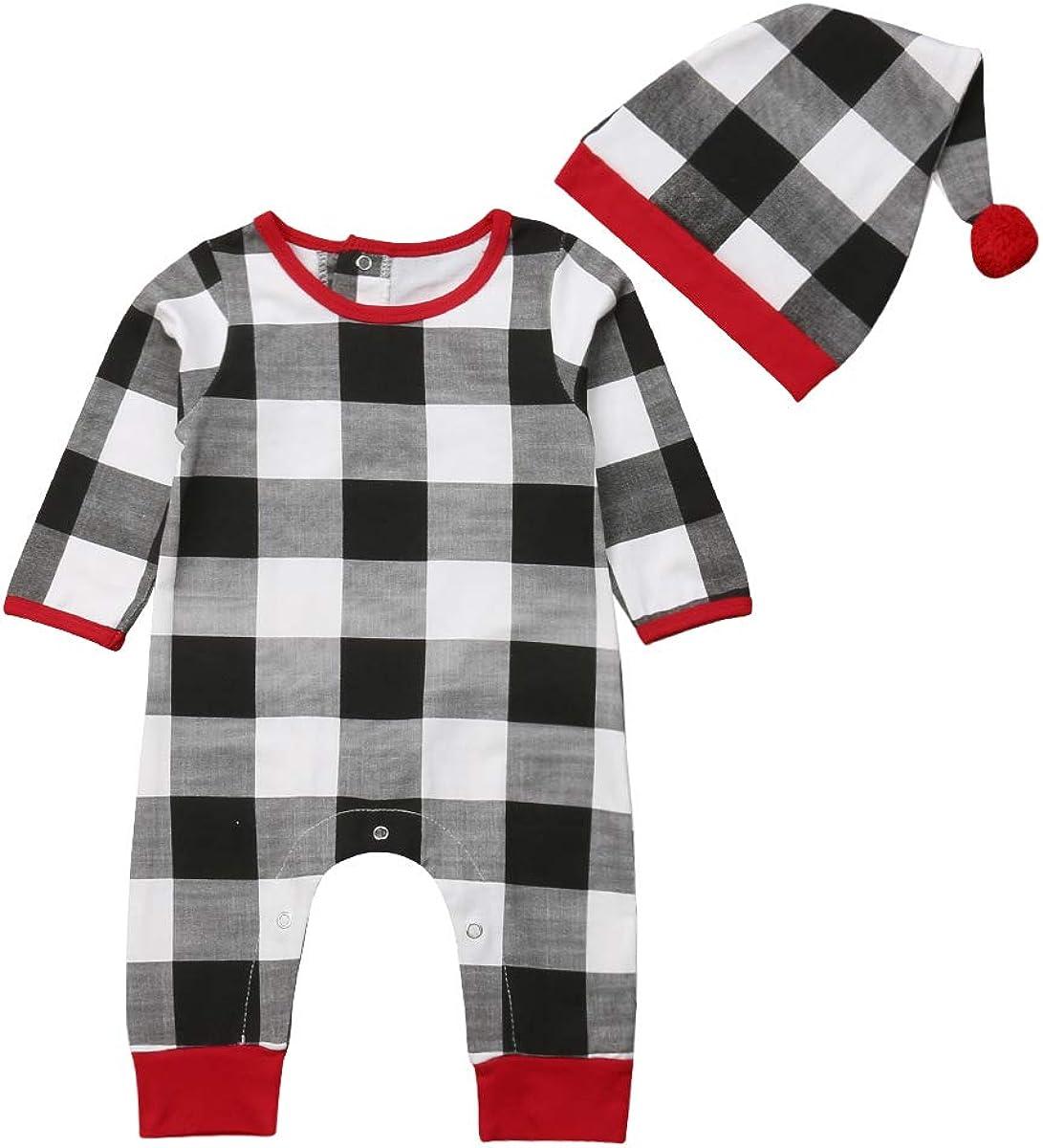 Newborn Baby Girls Boys Christmas Outfits Long Sleeve Plaid Romper Bodysuit Xmas Jumpsuit Pajamas Hat Set 0-24M