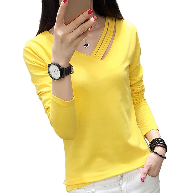 [美しいです] レディース Tシャツ 春 夏 ブラウス 七分袖 シースルー フォーマル シャツ