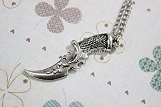 The Classic Silver Sword Knife Pendant Knight Skull Good Evil Pendentif Necklace Silver Plated Pewter Charm