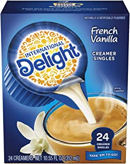 International Delight, French Vanilla, Single-Serve Coffee Creamers, 24 Count (Pack of 6), Shelf Stable Non-Dairy Flavored...