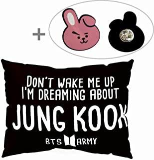 Hosston BTS Pillowcase Kpop Bangtan Boys 50 x 30 cm Soft Velvet Throw Pillow Case with One BTS Cute Brooch Pin Badge Free Best Gift for A.R.M.Y(Style 03-Jungkook)