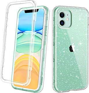Lamcase for iPhone 11 Case Crystal Clear Glitter Sparkly Bling Heavy Duty Shockproof Hybrid Three Layer Protective Cover Case for Apple iPhone 11 6.1 inch 2019, Clear/Silver Glitter