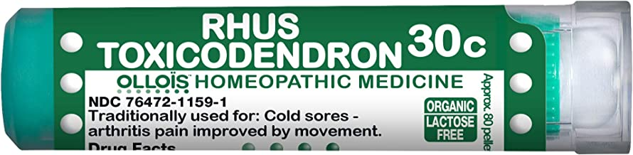 Ollois Lactose Free Homeopathic Medicines, Rhus Toxicodendron 30C Pellets, 80 Count
